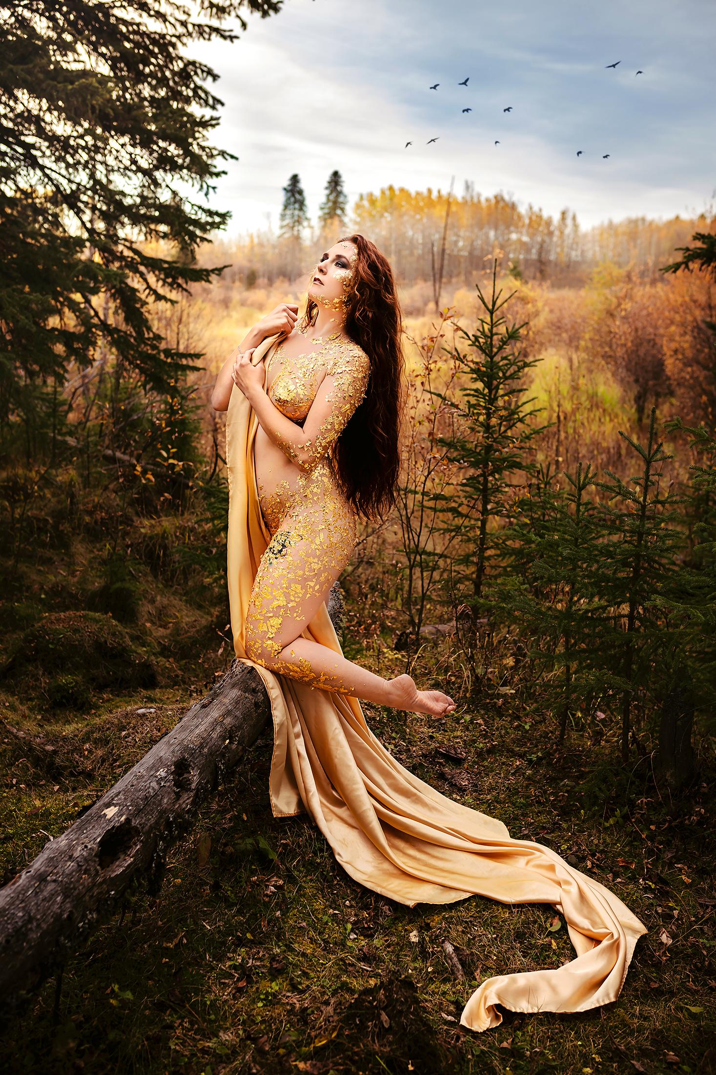 Fine art nude boudoir photographer gold leaf flake foil calgary red deer cochrane airdrie innisfail alberta